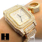 Men Techno Pave BLING ICED OUT WATCH W/ 14K GOLD LAB DIAMOND and RING SET GW199