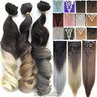 100% Natural Long Remy Clip in Hair Extensions 8 Pieces Full Head Fake Hair WR3