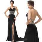 New Women Split Front Long Formal Wedding Prom Gown Evening Party Cocktail Dress