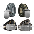 1pc Casual Mens Alloy Slider Buckle Military Long Stripe Weave Canvas Belt Gift
