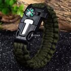 5in1 Paracord Survival Bracelet Fire Starter Compass Whistle Outdoor Wrist DZ88
