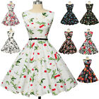 Plus Size Vintage Swing 50's 60's Retro Pinup Skater Cocktail Evening Dress Mini