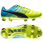 New $230 PUMA EvoPOWER 1.3 Leather FG Mens Soccer Cleats : Yellow / Blue