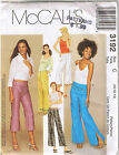 Low Rise Flared Leg Long Cropped Pants McCalls 3192 Sewing Pattern Size 10 12 14