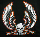 RIDE TO LIVE LIVE TO RIDE OLD SCHOOL SKULL WITH WINGS T-SHIRT BIKER AMERICAN NEW