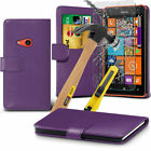 Soft PU Leather Flip Wallet Case Cover, Pen & Glass For Nokia Lumia 625