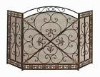 Benzara Metal Fire Screen with Artistic Detailing in Deep Bronze Finish