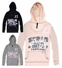 Ladies Hooded Top New Womens V-Neck Long Sleeve Lightweight Jumper Hoodie UK8-12