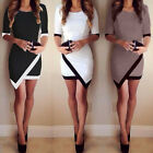 Women New Half Sleeve Ladies White & Black Patchwork Pencil Short Mini Dress LAU