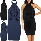 Womens Ladies Double Peplum Ruffle Frill Halter Neck Bandage Bodycon Mini Dress
