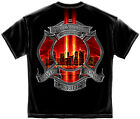 New Black T-Shirt with Red Maltese Cross Memorial Tribute Firefighter Design