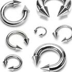 1x18g -10g Steel Horseshoe Circular Barbell with SPIKES Eyebrow-Tragus-Lip-Other