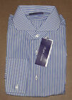$795 Ralph Lauren Purple Label Italy Mens Striped Blue Keaton Collar Dress Shirt