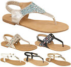 Ladies Womens Back Strap Summer Flats Party Toe Post Diamante Sandals Shoes Size