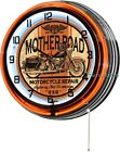 """Mother Road Route 66 Motorcycle 18"""" Orange Double Neon Wall Clock Retro Man Cave"""