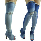 Womens Ladies Thigh High Over The Knee Denim Peeptoe Block Heel Boots Size 2-8