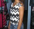 New Color Swatch Zig Zag Chevron Open Shoulder Banded Shirt Top