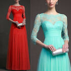 Long Evening Ball Prom Gown Formal Bridesmaid Cocktail Party Lace Formal Dress