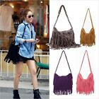 Women Nubuck Leather Suede Fringe Shoulder Messenger Cross Body Tassels Bag