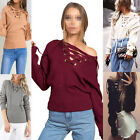 Fashion Lace Up Winter Sweater Women Casual Loose Belt Ribbed Top Knitwear LACA