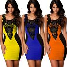 Women Lace Bodycon Contrast Optical Illusion Cocktail Evening Pencil Dress TXCL