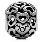 925 Sterling Silver MOM in HEART Filigree European Charm Bead