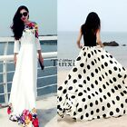Summer Beach Gown Women Bohemia Flower Print Long Dress Ladies Boho Maxi Dress