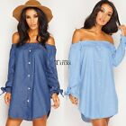 NEW WOMENS LADIES OFF THE SHOULDER BUTTON DENIM LOOK SHIRT DRESS TOP 8-16 TXCL