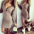 Womens Autumn Winter Long Sleeve Slim Sweater Jumper Knit Bodycon Mini Dress MI