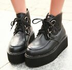Ladies Lace Up Punk Gothic Rock High Platform Creepers Shoes Ankle Boots #S2