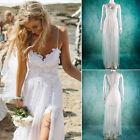 Women Summer White lace Halter V-Neck Sleeveless Beach Wedding Dress Bridal Gown