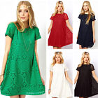 Summer Women's Round Neck Lace Hollow out Short Sleeve Dress Fashion New MI
