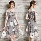 New Korean Fashion Womens Dress Organza Floral Gray Evening Cocktail Party Skirt