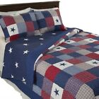 All American Quilted Blanket Red White Blue Bedspread Twin Queen King image