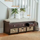 Contemporary Coastal 3 Drawer plus Baskets Storage Bench Seat 2 Color Choices