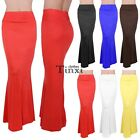 Maxi Skirt Waist Foldover Solid Long Lightweight Rayon Spandex Regular Plus DZ88