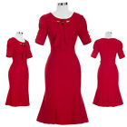 Womens Short Sleeve Business Mermaid Evening Cocktail Dresses Party Pencil Dress