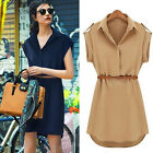 Women Cap Sleeve Polo Neck Loose Chiffon Shirt Dress Mini Dress With Belt NEW