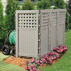 UV Resistant 4 Panel Resin Outdoor Privacy Screen Yard Fence Taupe or White