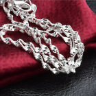 5pcs 16-30inch Jewelry Lot 925 Silver Double Water Wave Chain Necklace Pendant