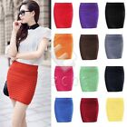 Women Bodycon Pencil Skirt Stretch Pleated High Waist Plain Office Skirt BD0004