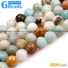 Natural Colorful Amazonite Gemstone Faceted Round Loose Beads Free Shipping 15""