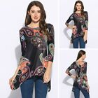Fashion Women 3/4 Sleeve Shirt Casual Blouse Loose Printed Tops T-Shirt Pullover