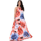 Plus Size Women's Beach Long Dress Flower Prints Loose Big Hem Casual Maxi Dress