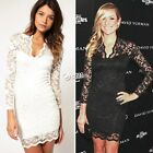 Women Long Sleeve V-Neck Lace Slim Cocktail Party Formal Mini Dress Lot DZ88