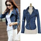 New Women Trench Slim Autume Denim Jean Coat Short Jacket Outwear Zipper Outcoat
