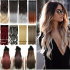 US Long Ombre Hair Thick 1Pcs 3/4 Full Head As Human Clip in Hair Extensions T4I
