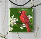 BIRD RED CARDINAL ON FLOWERED TREE PENDANT NECKLACE 3 SIZES CHOICE -hgr4Z