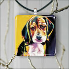 DOG BEAGLE PUPPY HEAD ART PAINT PENDANT NECKLACE 3 SIZES CHOICE -kda2Z