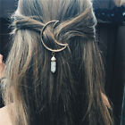 Women Vintage Alloy Moon Hair Clip Natural Stone Pendant Charms Clamp HairpinLAU